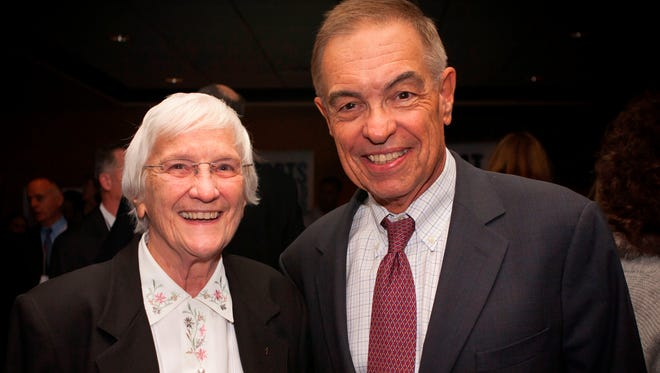 Sister Percylee Hart, left, principal of Union Catholic High School, will host WCBS Newsradio 880 business reporter Joe Connolly, right, at a business networking luncheon on April 19 at the Scotch Plains school.