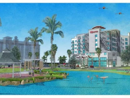 The original rendering of the proposed 165-room hotel