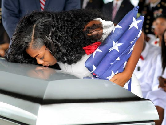 Myeshia Johnson, widow of Army Sgt. La David Johnson, during his funeral in Hollywood, Fla., on Oct. 21.