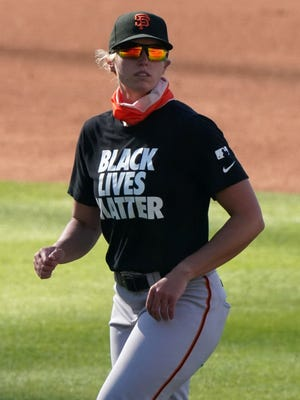 The Giants' Alyssa Nakken became the first woman to coach on-field during a Major League Baseball game.