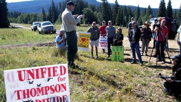White River National Forest Supervisor Scott Fitzwilliams explains the site visit portion of the process Tuesday in relation to SG Interests' proposal to drill a test natural gas well in the Wolf Creek storage area portion of the Thompson Divide south of Glenwood Springs.