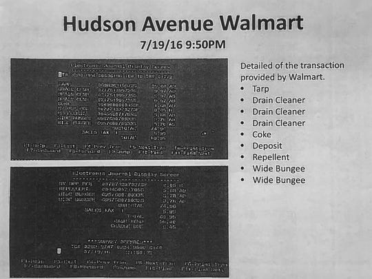 "A list of items prosecutors said Laura Rideout and Paul ""P.J."" Tucci purchased at the Walmart on Hudson Avenue."