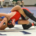 Daniel Pino from Coldwater works to flip Parma Western's Seth Phebus.