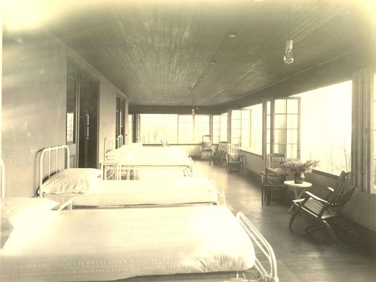 The sleeping porch at the sanitarium that opened in