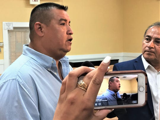 Socorro, Texas, city Rep. Rene Rodriguez speaks Tuesday to reporters at Socorro City Council Chambers.