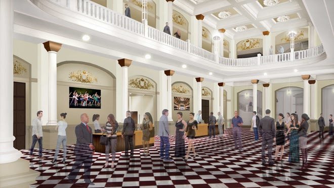 Chandeliers will be removed from the lobbies in the plan for Music Hall.