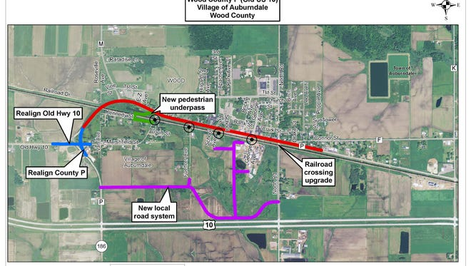 A map shows how a new road system, built as part of the Wood County P reconstruction, will allow residents cut off by trains in Auburndale access to and from their homes without crossing railroad tracks.
