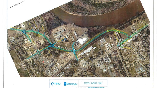 This rendering provided by the City of Bossier City displays the current plan for the Northern Parkway Extension project.