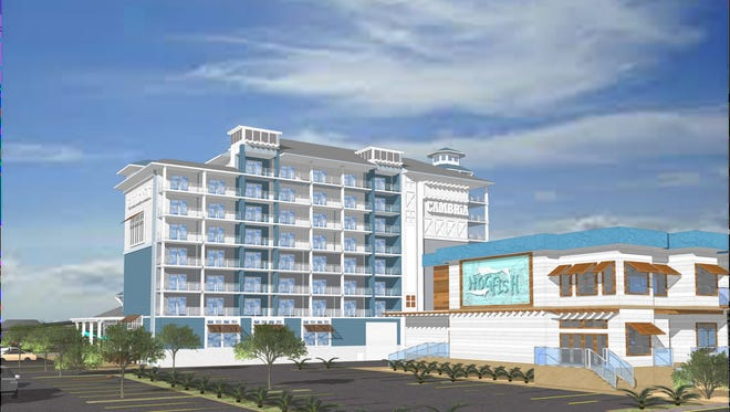 Rendering of the proposed Cambria Hotel at the site of the former Cropper Concrete Plant.