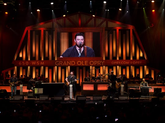 Chris Young performs at The Grand Ole Opry House in Nashville, Tenn., Tuesday, Aug. 29, 2017.