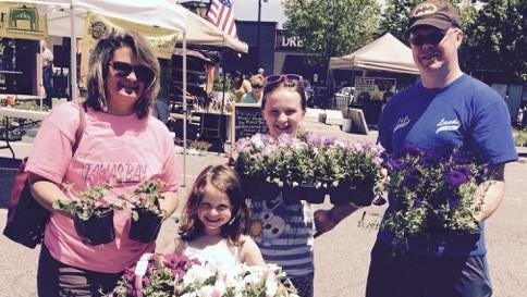 Becky, Jackie, Kara and Tom Hoener had a busy day at the market this past weekend.