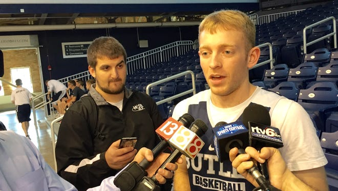 Butler point guard Tyler Lewis addresses the media at Hinkle Fieldhouse.