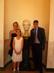 Ethan Bryan, right, with his daughters Kaylea, left, and Sophie, at the White House.