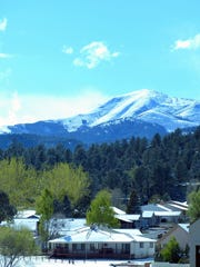 Sierra Blanca Peak received a late season coat of snow.