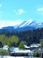 Sierra Blanca Peak received a late season coat of snow.