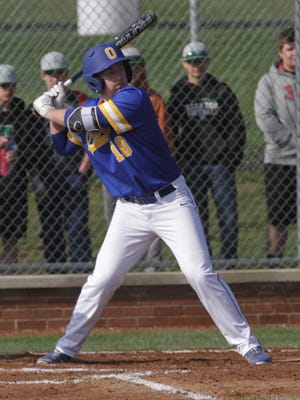 Ontario's Luke Smith readies himself at bat while at Clear Fork on Wednesday.