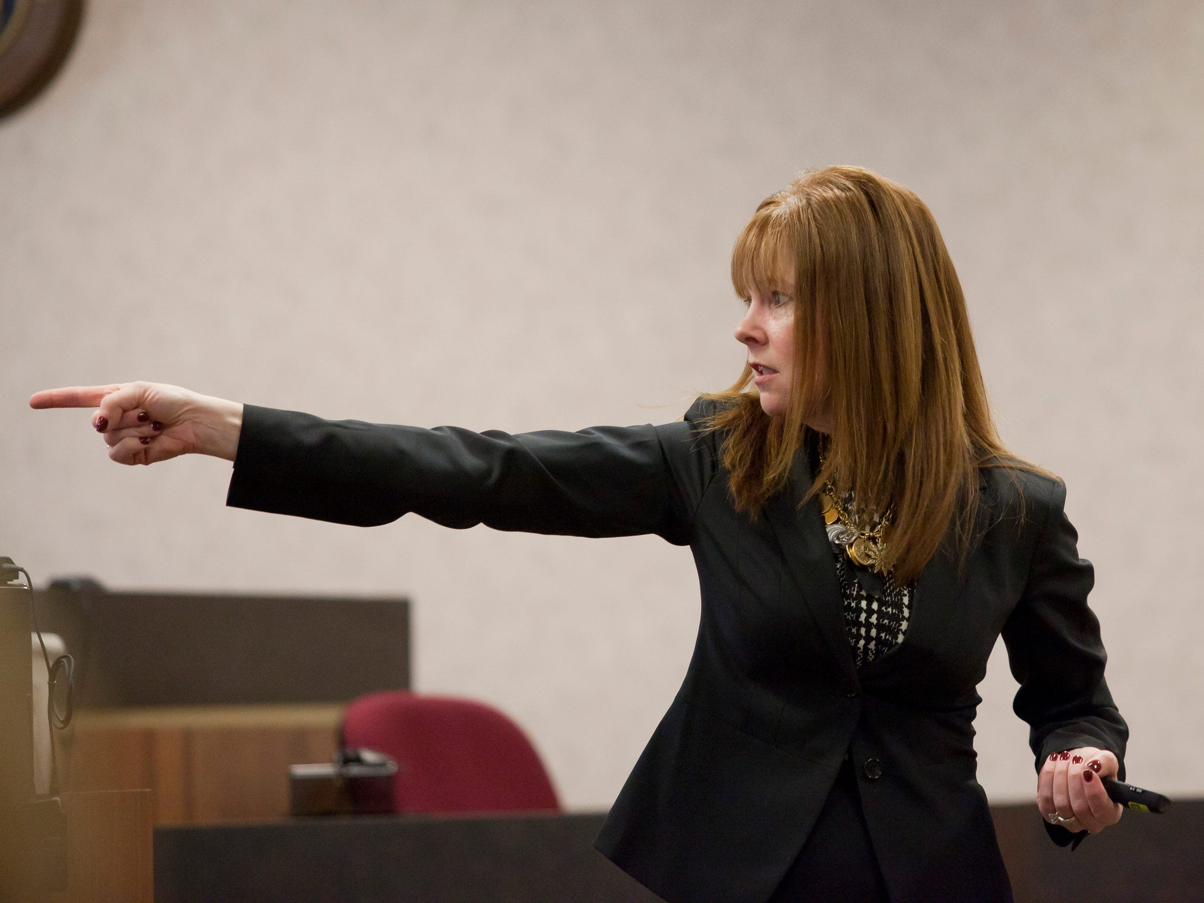 Assistant Prosecuting Attorney Mary Kelly points at