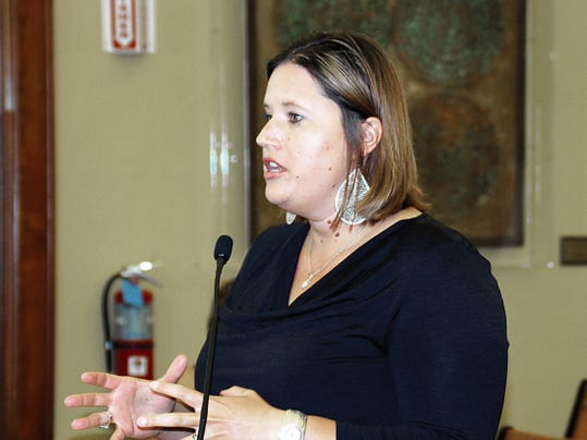 Jessica Etcheverry, Luna County director of community projects and economic development, addresses the County Commissioners Thursday.