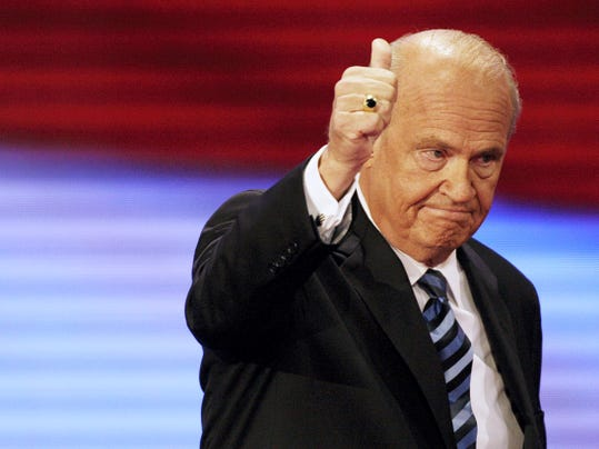 Former Sen. Fred Thompson, R-Tenn., gives thumbs up after speaking at the Republican National Convention in 2008 in St. Paul, Minnesota. Thompson died Sunday in Nashville, Tennessee, after a recurrence of lymphoma, his family said in a statement. He was 73.