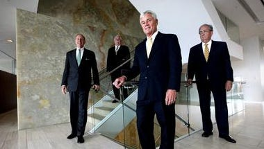 David Williams (center) stands other Morris James attorneys in a 2012 photo.
