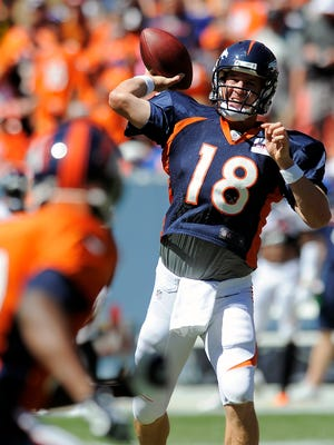 Broncos quarterback Peyton Manning, seen passing last Saturday before a team scrimmage, will lead Denver against the Seahawks tonight in the preseason opener for both teams.