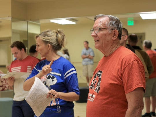 """Gary Payne, right, watches as Jan Broberg, center, directs a rehearsal of his melodrama """"The Great Circus Caper"""" Monday at the Electric Theater in St. George."""