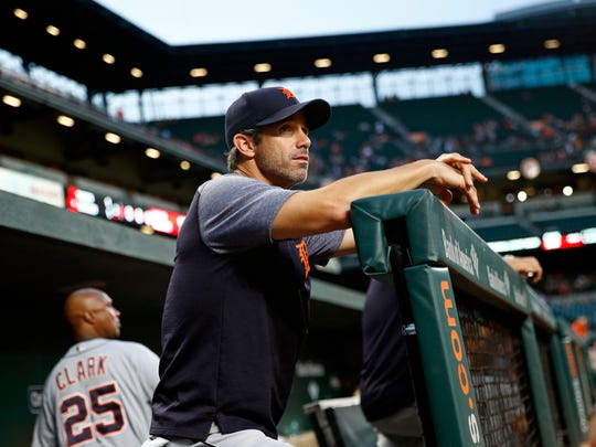 Tigers manager Brad Ausmus stands in the dugout in the third inning on Friday, Aug. 4, 2017, in Baltimore.