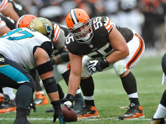 FILE - This Dec. 1, 2013 file photo shows Cleveland Browns center Alex Mack (55) in action during an NFL football game against the Jacksonville Jaguars, in Cleveland. Browns Pro Bowl center Alex Mack's football future could be decided in the next few days _ or hours. The Jacksonville Jaguars are expected to sign Mack to a contract offer sheet on Friday, April 11, 2014. Once the paperwork is filed, the Browns will have five days to match. Cleveland secured that right after placing a $10 million transition tag on Mack before free agency opened. (AP Photo/David Richard, File)