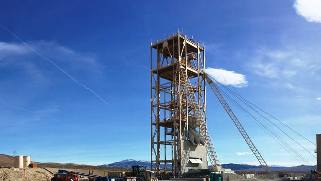 The shaft located below the headframe, center, is nearing the 1,900-foot depth, approaching the haulage level.