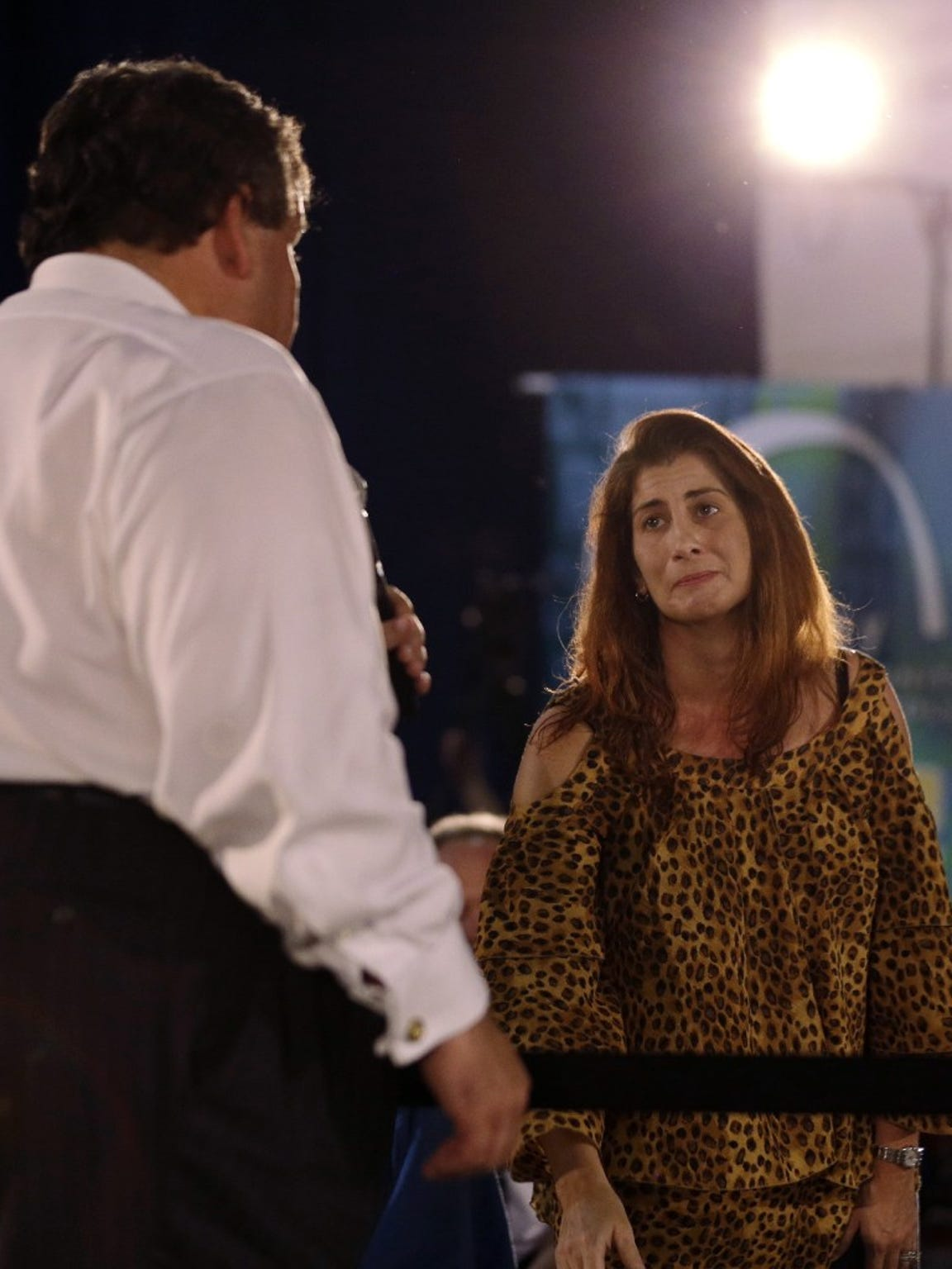 Cheryl Rubino asks Gov. Chris Christie during a 2013 town hall meeting in Branchburg to support designating the Pompton Lakes neighborhood where she grew up as a Superfund site. Christie declined.