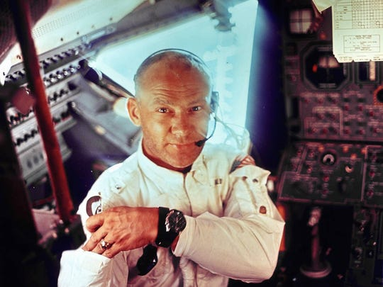 Buzz Aldrin shown in the Lunar Module in which he and Neil Armstrong became the first humans to land on the moon July 20, 1969.