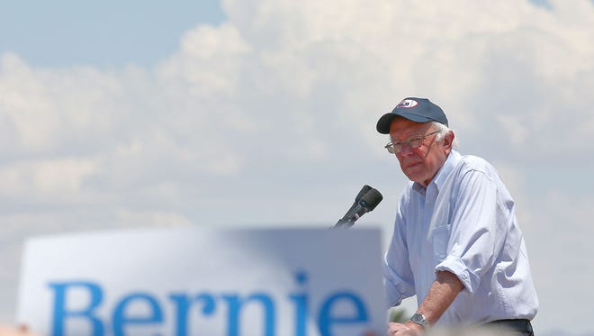Bernie Sanders speaks to the crowd during his campaign rally in Cathedral City, May 25, 2016. A lawsuit by supporters of Bernie Sanders that claimed election officials in California were depriving unaffiliated voters of their right to cast ballots in the June 7 Democratic presidential primary was filed too late and lacked evidence that federal laws were violated, a judge ruled Wednesday.