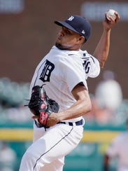 Tigers pitcher Francisco Rodriguez pitches during the