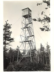 Historic view of the Glastenbury Fire Tower ca. 1945.