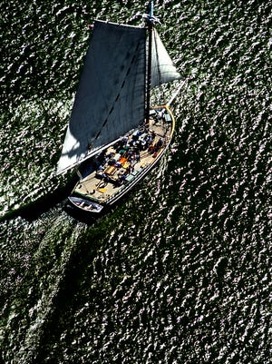 The sloop Clearwater cuts a path across the glistening Hudson River just south of the Newburgh-Beacon Bridge at sunset in this photograph taken in August, 2002.