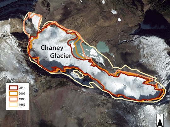 The perimeter of Chaney Glacier in Glacier National