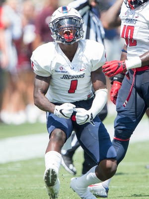 STARKVILLE, MS - SEPTEMBER 3: Cornerback Jeremy Reaves #1 of the South Alabama Jaguars celebrates after a big play during their game against the Mississippi State Bulldogs at Davis Wade Stadium on September 3, 2016 in Starkville, Mississippi. The South Alabama Jaguars defeated the Mississippi State Bulldogs 21-20. (Photo by Michael Chang/Getty Images)