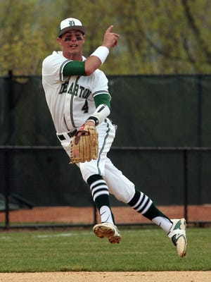 Delbarton shortstop Andrew Papantonis throws to first base during a Morris County Tournament semifinal.