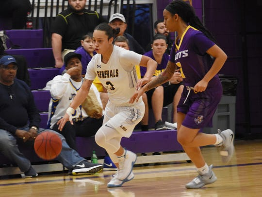LSUA guard Brittany Hall (3) drives to the lane against Louisiana State University at Shreveport Lady Pilots on Jan. 17, 2019.