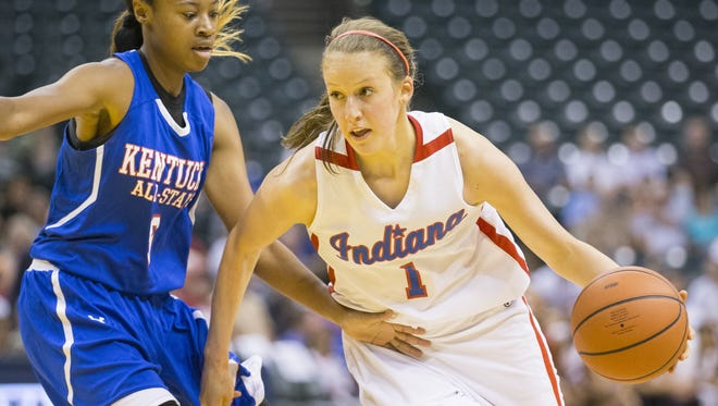 Ali Patberg of Columbus North High School, works a play for Indiana as she is defended by Dee Givens, during the first half of Indiana vs. Kentucky All-Stars, Bankers Life Fieldhouse, Indianapolis, Saturday, June 13, 2015.