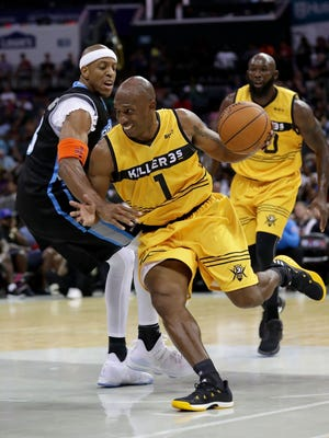 Chauncey Billups #1 of Killer 3s drives the ball against Jerome Williams #13 of Power during week two of the BIG3 three on three basketball league at Spectrum Center on July 2, 2017 in Charlotte, North Carolina.  (Photo by Streeter Lecka/Getty Images) ORG XMIT: 700058227 ORIG FILE ID: 805753844