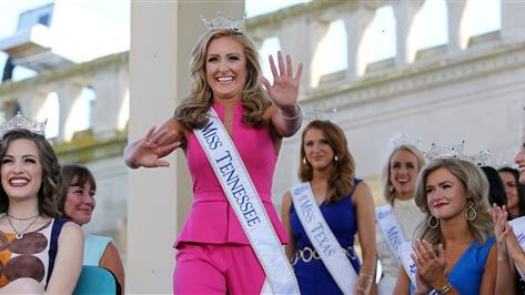 Miss Tennessee Grace Burgess waves as she is introduced during Miss America Pageant arrival ceremonies Tuesday, Aug. 30, 2016, in Atlantic City. (AP Photo/Mel Evans)