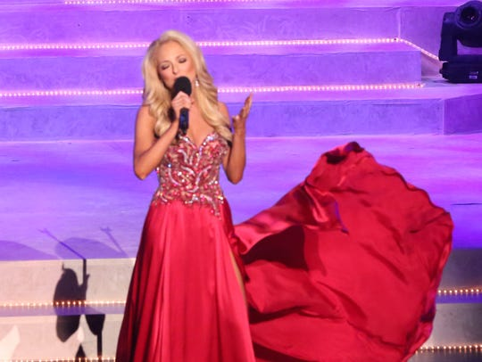 Miss Tennessee Caty Davis competes in talent at the