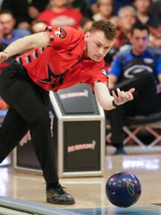 Keven Williams bowls against Marshall Kent during the