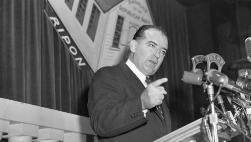 Sen. Joseph R. McCarthy speaks at the Milwaukee County Young Republicans dinner at the Plankinton Hotel on March 20, 1954.