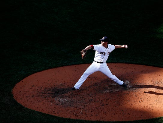 Craig Breslow of the Boston Red Sox pitches against
