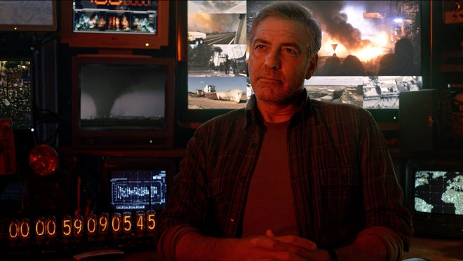 "George Clooney seen in a scene from the first trailer of ""Tomorrowland."""