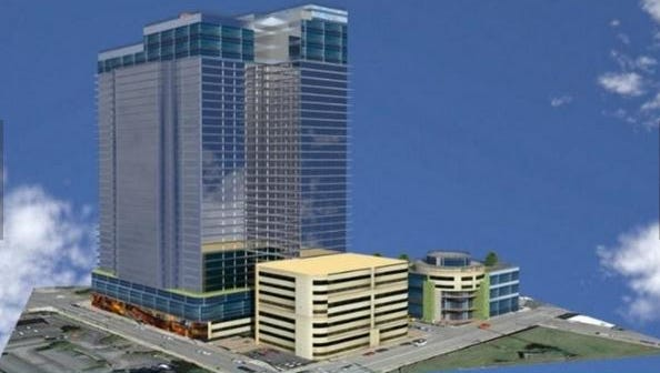 An early concept rendering of the World One Hotel and shopping center project.