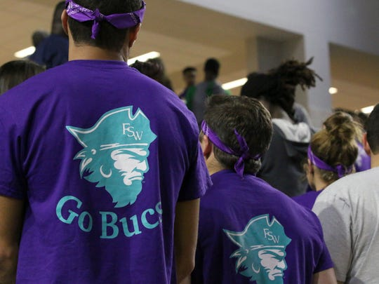Florida SouthWestern fans await the start of a game this season at Suncoast Credit Union Arena.