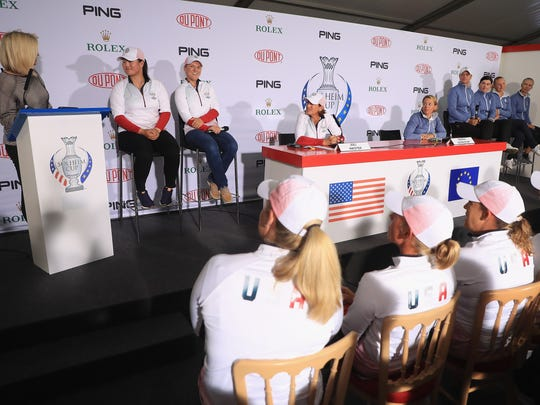 The six captains' selections for the Solheim Cup are (seated in far background, from left to right) Angel Yin and Austin Ernst of the United States; and Europeans Anna Nordqvist, Caroline Masson, Emily Pedersen and Madelene Sagstrom.